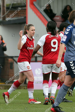 Heather O'Reilly of Arsenal Women is congratulated after scoring the second goal during Arsenal Women vs Charlton Athletic Women, SSE Women's FA Cup Football at Meadow Park on 25th March 2018
