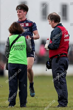 Kildare vs Galway . Galway's Sean Kelly receives medical attention