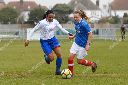 Mary Robinson of Crystal Palace Ladies in action against Katie James of Portsmouth Ladies during The Women's Premier League South match between Portsmouth Ladies v Crystal Palace Ladies on March 25th 2018 at The Sportsground, Littlehampton, West Sussex, England. (Photo by Gareth Davies/PPAUK)