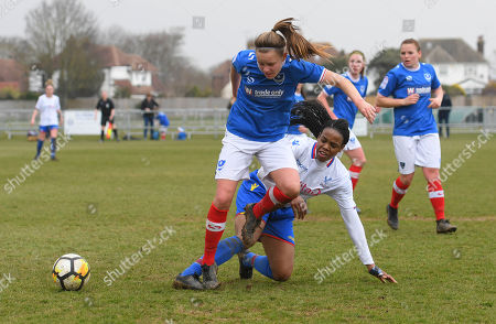 Mary Robinson of Crystal Palace Ladies with the tackle on Katie James of Portsmouth Ladies during The Women's Premier League South match between Portsmouth Ladies v Crystal Palace Ladies on March 25th 2018 at The Sportsground, Littlehampton, West Sussex, England. (Photo by Gareth Davies/PPAUK)