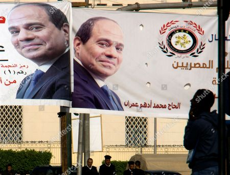 Banners showing Egyptian President Abdel-Fattah el-Sissi, hang in Tahrir Square, which was the focal point of the Jan. 25, 2011 Egyptian uprising, in Cairo, Egypt. Seven years ago, Cairo's Tahrir Square was filled with tens of thousands of Egyptians demanding change. Now it is festooned with portraits of the president, vowing continuity. Almost all traces of the popular revolt that overthrew autocrat Hosni Mubarak in 2011 are now gone