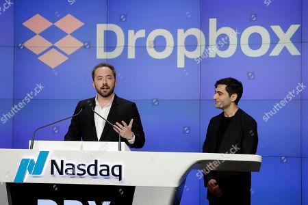 Drew Houston, Arash Ferdowsi. Dropbox co-founders Drew Houston, left, and Arash Ferdowsi, at the Nasdaq MarketSite, during their company's IPO, in New York's Times Square
