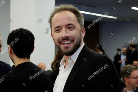 Dropbox co-founder Drew Houston at the Nasdaq MarketSite during the company's IPO, in New York's Times Square