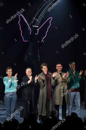 """Denise Gough, Nathan Lane, Andrew Garfield, James McArdle, Nathan Stewart-Jarrett. Denise Gough, from left, Nathan Lane, Andrew Garfield, James McArdle and Nathan Stewart-Jarrett participate in the curtain call for the """"Angels in America"""" Broadway revival opening night at the Neil Simon Theatre, in New York"""