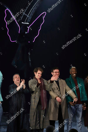 """Nathan Lane, Andrew Garfield, James McArdle, Nathan Stewart-Jarrett. Nathan Lane, from left, Andrew Garfield, James McArdle and Nathan Stewart-Jarrett participate in the curtain call for the """"Angels in America"""" Broadway revival opening night at the Neil Simon Theatre, in New York"""