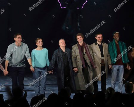 """Lee Pace, Denise Gough, Nathan Lane, Andrew Garfield, James McArdle, Nathan Stewart-Jarrett. Lee Pace, from left, Denise Gough, Nathan Lane, Andrew Garfield, James McArdle and Nathan Stewart-Jarrett participate in the curtain call for the """"Angels in America"""" Broadway revival opening night at the Neil Simon Theatre, in New York"""