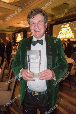 The Press Awards For 2016 Held At The Hilton Park Lane 14 March 2017. Daily Mail Winners Andy Hooper For Sports Photographer Of The Year Stanley Mcmurtry(mac) Cartoonist Of The Year And Peter Oborne Columnist Of The Year.