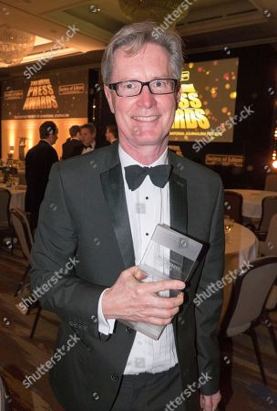The Press Awards For 2016 Held At The Hilton Park Lane 14 March 2017. Daily Mail Winners Andy Hooper For Sports Photographer Of The Year Stanley Mcmurtry (mac) Cartoonist Of The Year And Peter Oborne Columnist Of The Year.