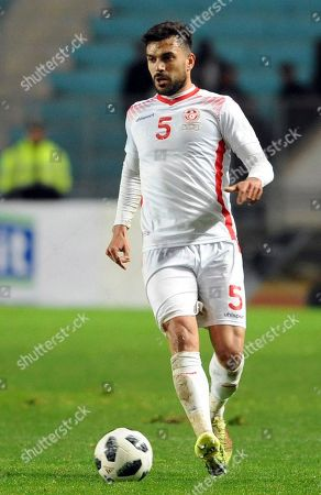 Tunisia's Oussama Haddadi is pictured during a friendly soccer match between Tunisia and Iran in Tunis