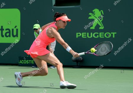 Editorial photo of Agnieszka Radwanska Defeats Simone Halep At Miami Open, Miami, Key Biscayne, USA - 24 Mar 2018