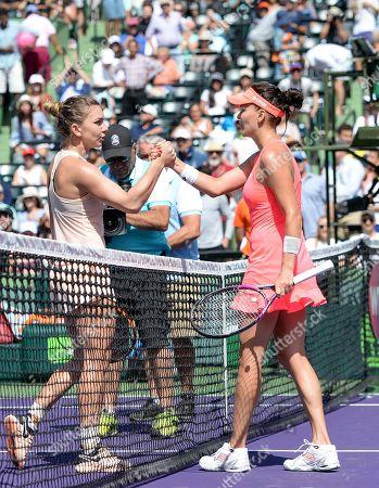 Stock Image of Agnieszka Radwanska (POL) defeats Simone Halep (ROU) by 3-6, 6-2, 6-3, at the Miami Open being played at Crandon Park Tennis Center in Miami, Key Biscayne, Florida. ©Karla Kinne/Tennisclix/CSM