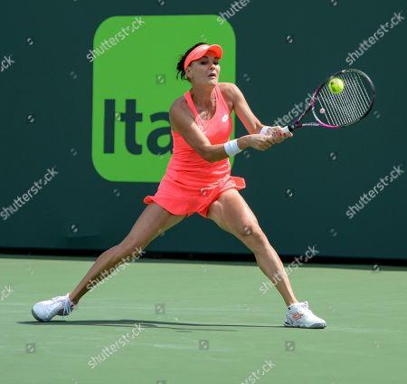 Editorial picture of Agnieszka Radwanska Defeats Simone Halep At Miami Open, Miami, Key Biscayne, USA - 24 Mar 2018