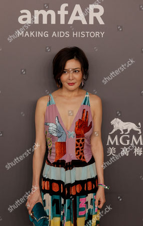 Hong Kong actress Rosamund Kwan poses on the red carpet during the fundraising gala organized by amfAR (The Foundation for AIDS Research) in Hong Kong
