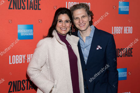 "Stephanie J. Block, Sebastian Arcelus. Stephanie J. Block and Sebastian Arcelus attend the Broadway opening night of ""Lobby Hero"" at the Hayes Theater, in New York"
