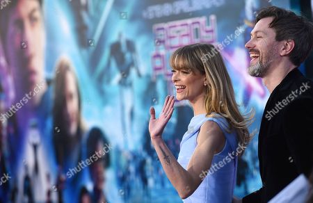 """Jaime King, Kyle Newman. Jaime King, left, and Kyle Newman arrive at the world premiere of """"Ready Player One"""" at the Dolby Theatre, in Los Angeles"""