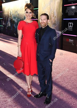 "Clare Grant, Seth Green. Clare Grant, left, and Seth Green arrive at the world premiere of ""Ready Player One"" at the Dolby Theatre, in Los Angeles"
