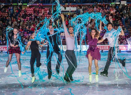 (L-R): Kaetlyn OSMOND (CAN), Aljona SAVChenKO / Bruno MASSOT (GER), Gabriella PAPADAKIS / Guillaume CIZERON (FRA), Nathan Chen (USA), all the winners, Gala Exibition during the ISU World Figure Skating Championships at Mediolanum Forum.