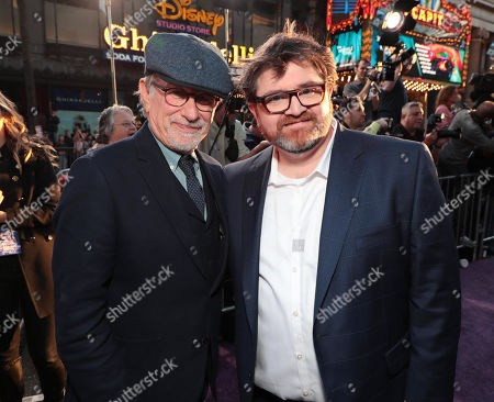 Stock Image of Steven Spielberg, Director, Ernest Cline, Author