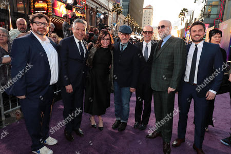 Ernest Cline, Author, Kevin Tsujihara, Chairman of Warner Bros. Entertainment, Kristie Macosko Krieger, Producer, Steven Spielberg, Director, Donald De Line, Producer, Zak Penn, Screenwriter, Dan Farah, Producer