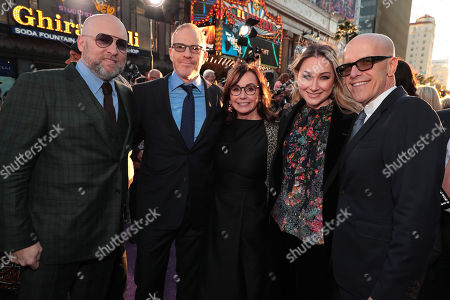 Stock Image of Zak Penn, Screenwriter, Toby Emmerich, Chairman of Warner Bros. Pictures Group, Kristie Macosko Krieger, Producer, Blair Rich, President of Worldwide Marketing for Warner Bros. Pictures Group and Warner Bros., Donald De Line, Producer