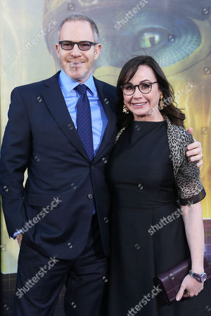 Chief content officer Toby Emmerich arrives with producer Kristie Macosko Krieger at the World Premiere of Real Player One at the Dolby Theater in Hollywood, Los Angeles, California, USA, 26 March 2018. The film is released in the USA on 29 March 2018.