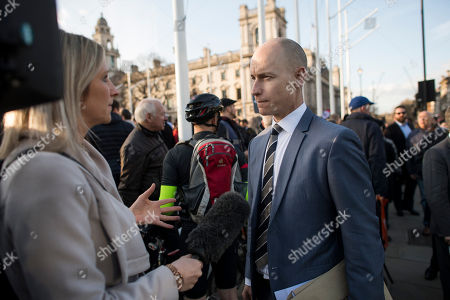 Labour MP Stephen Kinnock joins a demonstration outside the Houses of Parliament