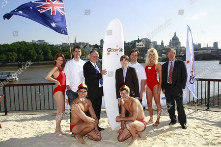 Models and Shane Osborn, John Dauth, Kylie Hargreaves, Brett Graham and Phil Aiken