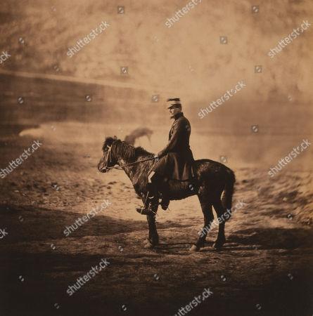 British Captain Charles Halford, full-length Portrait in Uniform Seated on on Horse, Crimean War, Crimea, Ukraine, by Roger Fenton, 1855
