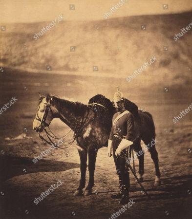 British Captain Charles Augustus Drake Halford, 5th Dragoon Guards, Full-Length Standing Portrait in Uniform next to Horse, Crimean War, Crimea, Ukraine, by Roger Fenton, 1855