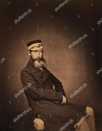 British Captain Charles Halford, 5th Dragoon Guards, Seated Portrait, Crimean War, Crimea, Ukraine, by Roger Fenton, 1855