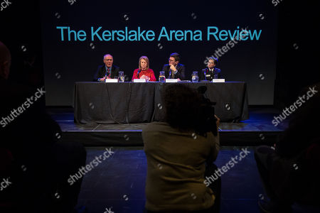 Sir Richard Leese, Deputy Mayor and Mayor of Greater Manchester Bev Hughes and Andy Burnham and GMFRS's Dawn Docx. The Kerslake Report in to the terrorist bombing of an Ariana Grande concert at the Manchester Arena on 22nd May 2017, ordered by Greater Manchester Metro Mayor Andy Burnham, is published at a press conference at the University of Salford, at Media City