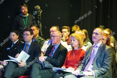 Dawn Docx of Greater Manchester Fire and Rescue, Manchester Mayor Andy Burnham, Sir Richard Leese and Deputy Mayor Bev Hughes listen to the findings of the panel. The Kerslake Report in to the terrorist bombing of an Ariana Grande concert at the Manchester Arena on 22nd May 2017, ordered by Greater Manchester Metro Mayor Andy Burnham, is published at a press conference at the University of Salford, at Media City