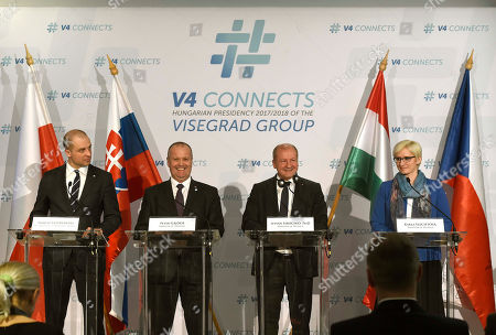 (L-R) Poland's Deputy Minister of National Defence Tomasz Szatkowski, Peter Gajdos Slovakian Defence Minister, Istvan Simicsko Hungarian Defence Minister and Karla Slechtova Czech Defence Minister hold a joint press conference during the meeting of the defence ministers of the Visegrad Group (V4) countries in Varkert Bazaar in Budapest, Hungary, 27 March 2018.