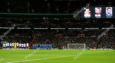 Stock Image of Players and fans pay tributes to Jimmy Armfield, Cyrille Regis and Davide Astori before the kick off