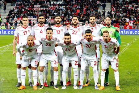 The Tunisia team line up for a group team photograph. Back Row L-R: Ellyes Skhiri, Yassine Meriah, Ferjani Sassi, Dylan Bronn, Syam Ben Youssef, Moez Hassen. Front Row L-R: Wahbi Khazri, Saif-Eddine El Khaoui, Naim Sliti. Anice Badri, Ali Maaloul.