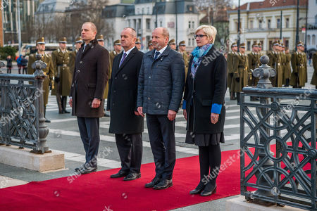 Stock Photo of (L-R) Poland's Deputy Minister of National Defence Tomasz Szatkowski, Peter Gajdos Slovakian, Istvan Simicsko Hungarian and Karla Slechtova Czech Defence Minister attend a wreath-laying ceremony at Heroes Square in Budapest, Hungary, 27 March 2018, ahead of the meeting of the Central European Defence Cooperation (CEDC) on 28 March.