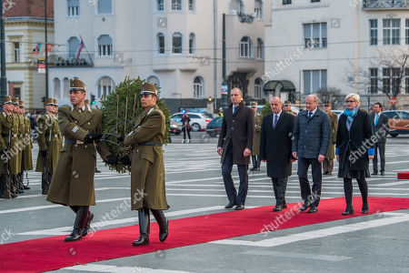 Stock Image of (L-R) Poland's Deputy Minister of National Defence Tomasz Szatkowski, Peter Gajdos Slovakian, Istvan Simicsko Hungarian and Karla Slechtova Czech Defence Minister attend a wreath-laying ceremony at Heroes Square in Budapest, Hungary, 27 March 2018, ahead of the meeting of the Central European Defence Cooperation (CEDC) on 28 March.