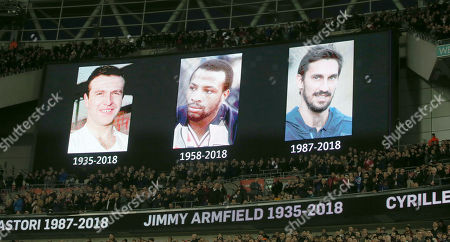 England and Italy players respect a minutes applause ahead of kick off in memory of Davide Astori, Jimmy Armfield and Cyrille Regis before the International friendly match between England and Italy at Wembley Stadium on 27th March 2018 at Wembley, London, England. (Photo by Dan Weir/PPAUK)