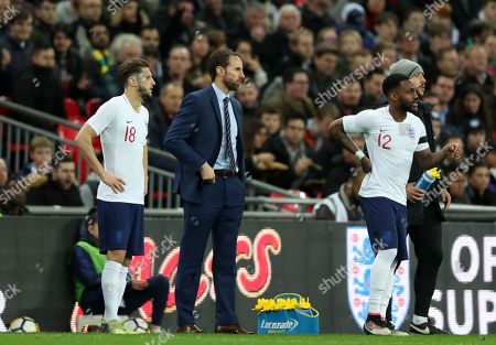 Adam Lallana of England and Dany Rose of England come on as substitutes during pre-World Cup friendlies match between England v Italy played at Wembley Stadium, London, United Kingdom on 27 Mar 2018