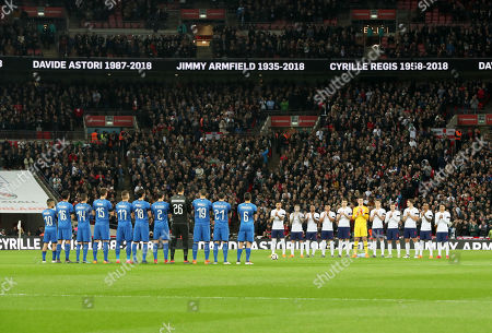 The two teams line up to commemorate three players who died this year, Davide Astori, Jimmy Armfield and Cyrille Regis prior to the pre-World Cup friendlies match between England v Italy played at Wembley Stadium, London, United Kingdom on 27 Mar 2018