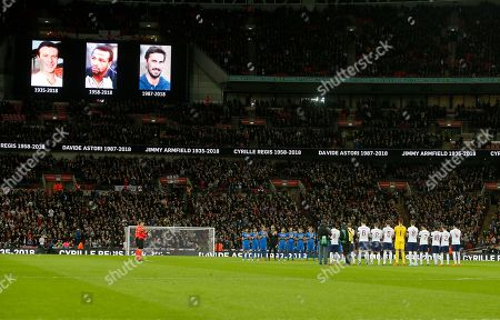 England and Italy soccer teams applaud to remember Jimmy Armfield, Cyrille Regis and Davide Astori recently dead before the international friendly soccer match between England and Italy at the Wembley Stadium in London