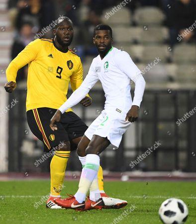 Stock Photo of Romelu Lukaku of Belgium and Mansoor Al-Harbi of Saudi Arabia