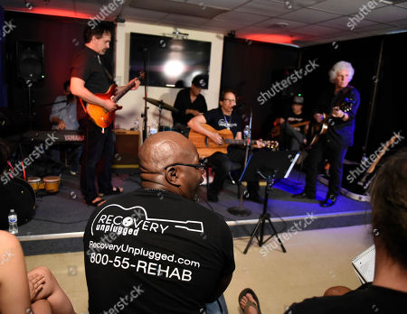 Doug Distner, Dennis Delgaudio, Liberty Devitto, Richie Supa, Malcolm Gold, Russell Javor. Doug Distner, from left, Dennis Delgaudio, Liberty Devitto, Malcolm Gold and Russell Javors of The Lords of 52nd Street, with guest singer Richie Supa, center, perform at Recovery Unplugged Treatment Center during Music Therapy for clients, in Fort Lauderdale, Fla