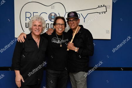 Stock Picture of Russell Javors, Richie Supa, Liberty Devitto. Russell Javors, left, Richie Supa and Liberty Devitto pose for a photo after their performance. Richie Supa was a guest singer of their band, The Lords of 52nd Street at Recovery Unplugged Treatment Center during Music Therapy for clients, in Fort Lauderdale, Fla