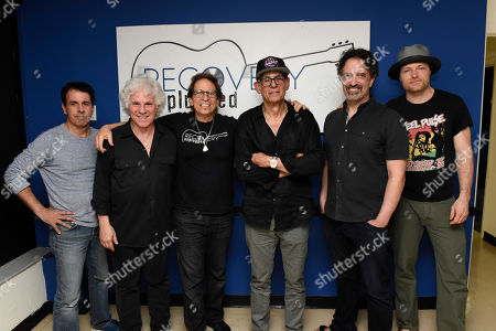 Doug Distner, Russell Javors, Richie Supa, Liberty Devitto, Dennis Delgaudio, Malcolm Gold. Doug Distner, from left, Russell Javors, Richie Supa, Liberty Devitto, Dennis Delgaudio and Malcolm Gold pose for a photo after their performance. Richie Supa was a guest singer of their band, The Lords of 52nd Street at Recovery Unplugged Treatment Center during Music Therapy for clients, in Fort Lauderdale, Fla