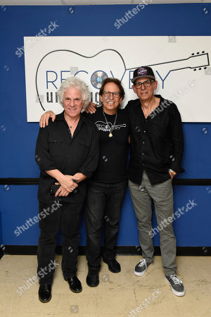 Stock Photo of Russell Javors, Richie Supa, Liberty Devitto. Russell Javors, left, Richie Supa and Liberty Devitto pose for a photo after their performance. Richie Supa was a guest singer of their band, The Lords of 52nd Street at Recovery Unplugged Treatment Center during Music Therapy for clients, in Fort Lauderdale, Fla