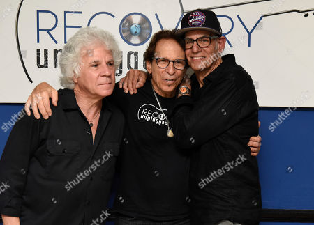 Stock Image of Russell Javors, Richie Supa, Liberty Devitto. Russell Javors, left, Richie Supa and Liberty Devitto pose for a photo after their performance. Richie Supa was a guest singer of their band, The Lords of 52nd Street at Recovery Unplugged Treatment Center during Music Therapy for clients, in Fort Lauderdale, Fla
