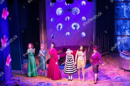 Lara Denning (Louise Lerman/Eve), Tracie Bennett (Lita), Jason Gardiner (Sylvia St Croix), Anya Evans (Tina Denmark), Kim Maresca (Judy Denmark) and Harriet Thorpe (Myrna Thorn) during the curtain call