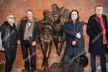 Howard Jones and Marillion with Andrew Sinclair and Rob Stringer with the statue