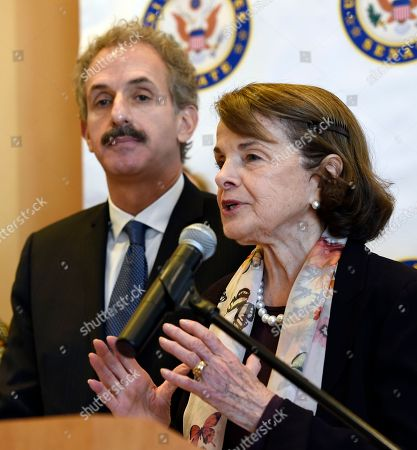 Dianne Feinstein, Mike Feuer. California Sen. Dianne Feinstein, right, and Los Angeles City Attorney Mike Feuer address reporters following a roundtable discussion on gun safety with gun violence survivors and family members, activists and medical personnel at the UCLA Medical Center, in Los Angeles